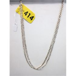 "2 New Sterling Silver 20"" Curb Link Chains"