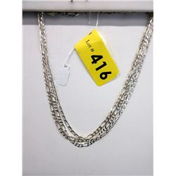 """3 New Sterling Silver 16"""" Figaro Link Chains"""