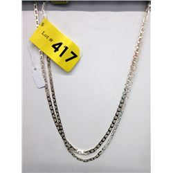 "2 New Sterling Silver 18"" Gucci Link Chains"