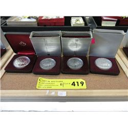 Four 1981 Canadian 50% Silver Proof Dollar Coins