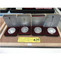 Four 1982 Canadian 50% Silver Proof Dollar Coins