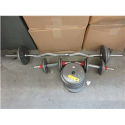 3 Weight Bars & Stack of Weight Plates