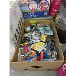 Large Box of Office & Crafting Supplies