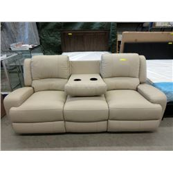 New 7 Foot Taupe Leather Theater Sofa