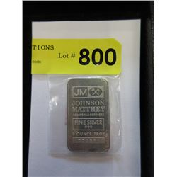 1 Troy Ounce .999 Fine Silver Johnson Matthey Bar
