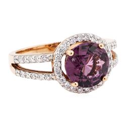 2.94 ctw Lavender Spinel And Diamond Ring - 14KT Rose Gold