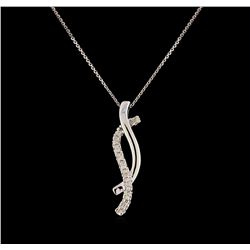 0.13 ctw Diamond Pendant With Chain - 14KT White Gold