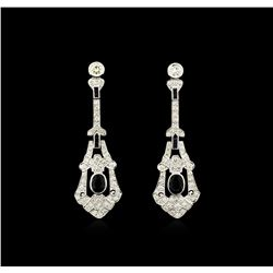 3.10 ctw Blue Sapphire and Diamond Dangle Earrings  - 18KT White Gold