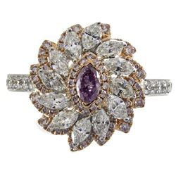 0.19 ctw Fancy Pink Diamond Ring - 18KT Two-Tone Gold