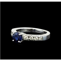 1.03 ctw Blue Sapphire and Diamond Ring - 18KT White Gold