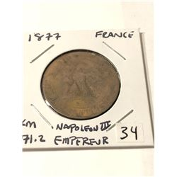Very Old 1877 France Napoleon III Empereur 10 Centimes