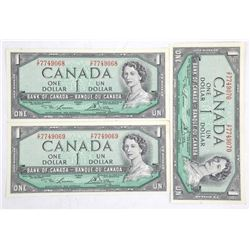 Lot (3) Bank of Canada 1.00 Notes, 1954 Modified P