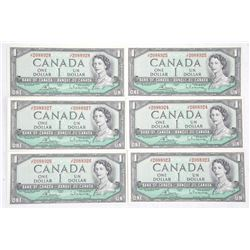 Lot (6) Bank of Canada 1.00 Notes, 1954 Modified P