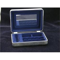 International Silver Co Jewelry box with blue velvet lining 5 x 4