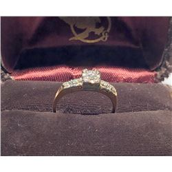 LADIES RING, SIZE 6 1/2, 14K & 18K GOLD / DIAMOND