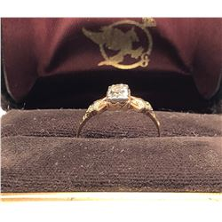 LADIES RING, SIZE 7 1/2, 10K GOLD / DIAMOND, ENGRAVED 1950