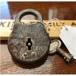 MILLER LOCK CO, PHILADELPHIA, SIX LEVER PADLOCK WITH KEY