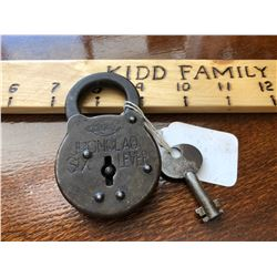 CORBIN IRON CLAD SIX LEVERS PADLOCK WITH KEY