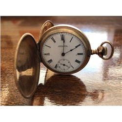 BUZZA BROS, OWEN SOUND, ON. CASHIER MODEL POCKET WATCH WITH GOLD LOOK FINISH