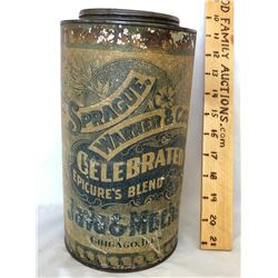 SPRAGUE, WARNER & CO, JAVA & MOCHA COFFEE TIN - CHICAGO