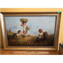 """FRAMED OIL, """"YOUNG HARVESTERS"""", ARTIST POSSIBLY T. SUN - 17.5"""" X 27.5""""."""
