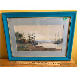 "FRAMED WATER COLOUR, SHORELINE WITH INDIAN ENCAMPMENT"" BY C. FARRELL - 12"" X 22""."