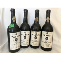 GR OF 4, 1985 WARRE'S PORT BOTTLES - EMPTY