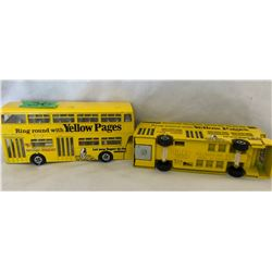 GR OF 2, DINKY DOUBLE DECKER BUSES ADVERTISING YELLOW PAGES