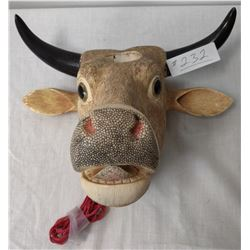 Large Bone Carving of Cow's Head