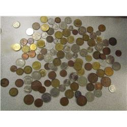 JAR OF FOREIGN COINS
