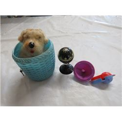 4 TOYS (SPINNING TOP, WHISTLE, COMPASS, DOG IN BASKET *NOT WORKING*)