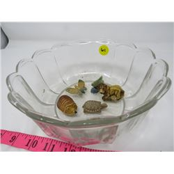 GLASS BOWL *W/4 LIPTON TEA ORNAMENTS*