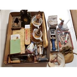 TRAY FULL OF COLLECTIBLES & ANTIQUES
