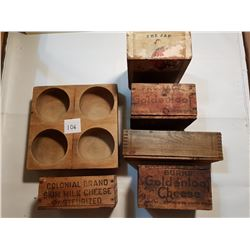 ANTIQUE WOODEN BOXES (4 CHEESE, 1 CIGAR & UNKNOWN)