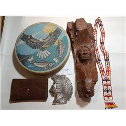 OLDER DRUM, 2 PLAQUES (1-PEWTER), LEATHER WALLET, BEADED NECKLACE