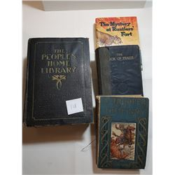 4 OLD BOOKS (1 - 1916 HOME LIBRARY W/SOME OLD LEAFS INSIDE)