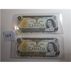 2 - 1973 CNDN $1 BANK NOTES (UNCIRCULATED) *DIFFERENT SIGNATURES*