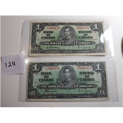 2 - 1937 CNDN $1 BANK NOTES, *DIFFERENT SIGNATURES*