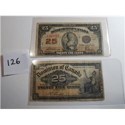 2 SHINPLASTERS (1900 & 1923) 25 CENT NOTES