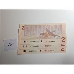 3 - 1986 CND $2 BANK NOTES (SERIAL NUMBER IN A ROW)