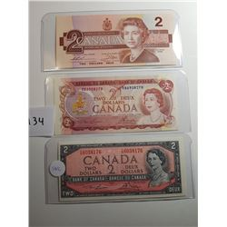 3 CNDN TWO DOLLAR BANK NOTES (1954, 1974, 1986 SERIES)