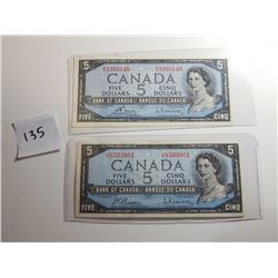 2 - 1954 FIVE DOLLAR BANK NOTES (2 DIFFERENT SIGNATURES)