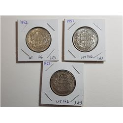 LOT OF CNDN SILVER 50 CENT PCS (1951, 52, 53)