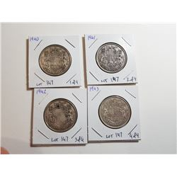 LOT OF CNDN SILVER 50 CENT PCS (1940, 41, 42, 43)