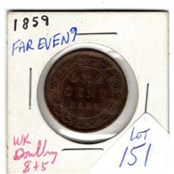 1859 LARGE CENT *SLIGHT DOUBLING 8 & 5*