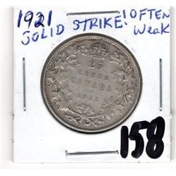 1921 25 CENTS *NICE SOLID STRKE*