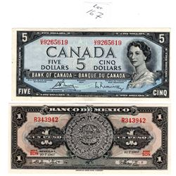 1954 $5 BILL & 1967 MEXICAN PESO BILL