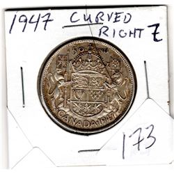 1947 50 CENT PIECE (CURVED RIGHT)