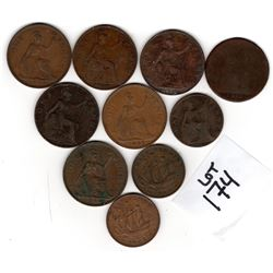 10 VICTORIA TO ELIZABETH LARGE *COPPER BRITISH* COINS