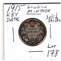 1915 KEY DATE 25 CENTS (SOLID STRIKE)